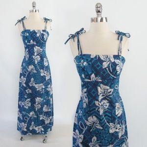 Vintage 70's Hawaiian Maxi Summer Sun Dress XS
